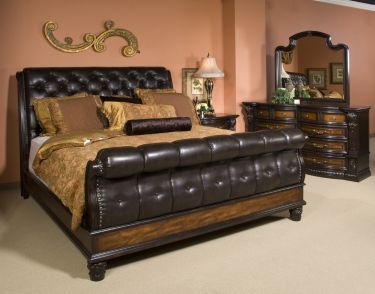 Grand Estates Queen Tufted Leather Sleigh Bed Bedrooms And Beds Pinterest Bedrooms