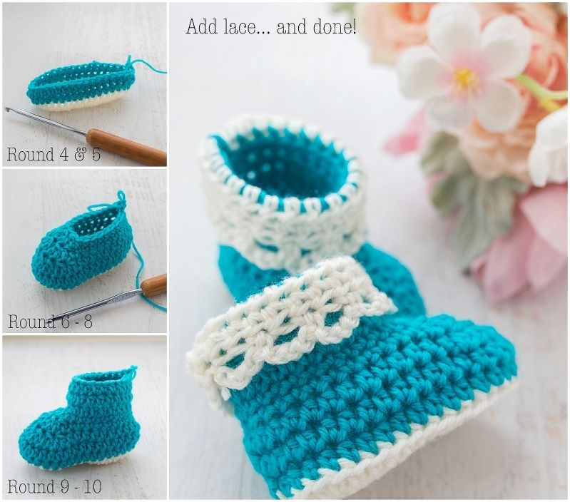 Lace Trim Baby Booties Free Crochet Pattern Tutorial