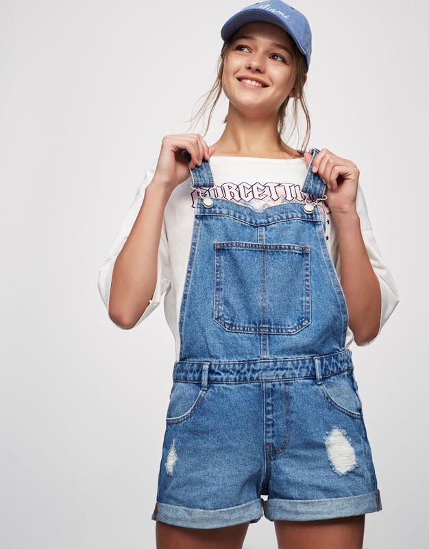 Pull&Bear - γυναικεία - ενδύματα - σαλοπέτες και ολόσωμες φόρμες - τζιν σαλοπέτα - μπλε σκουρο - 05639302-V2017