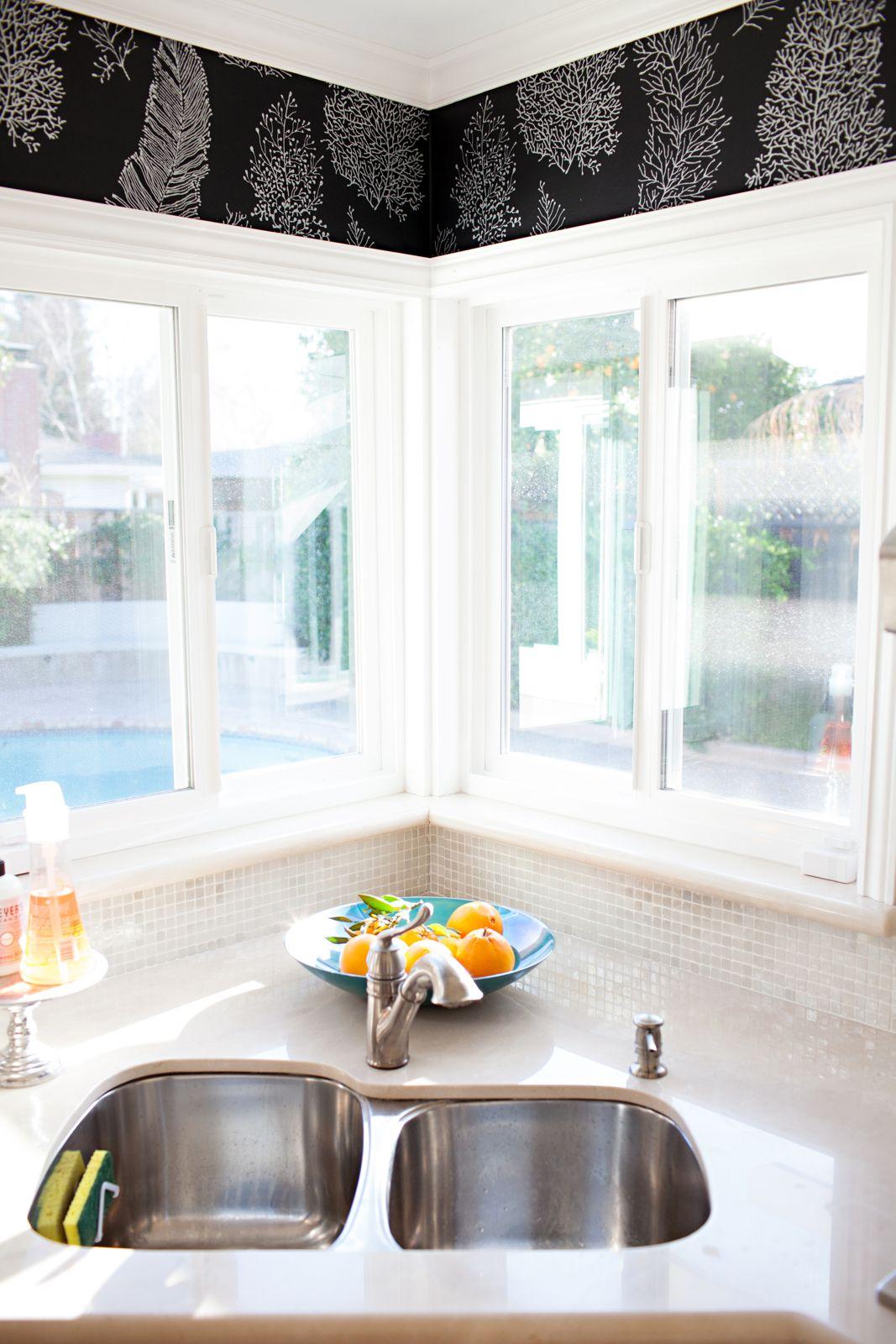 York All Over Coral Wallpaper Around The Kitchen Sink Windows Corner Sink Kitchen Sink Design Window Over Sink