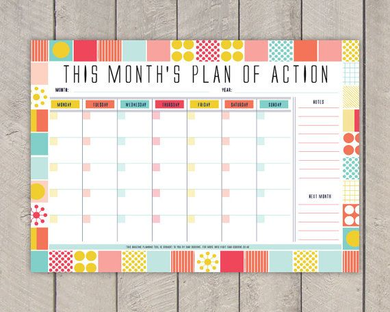 Monthly Planner Printable Diy Organiser Mid By Samosbornestore