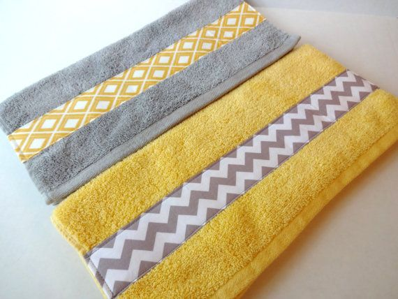 Yellow and Grey Bath Towels, yellow and grey, yellow and