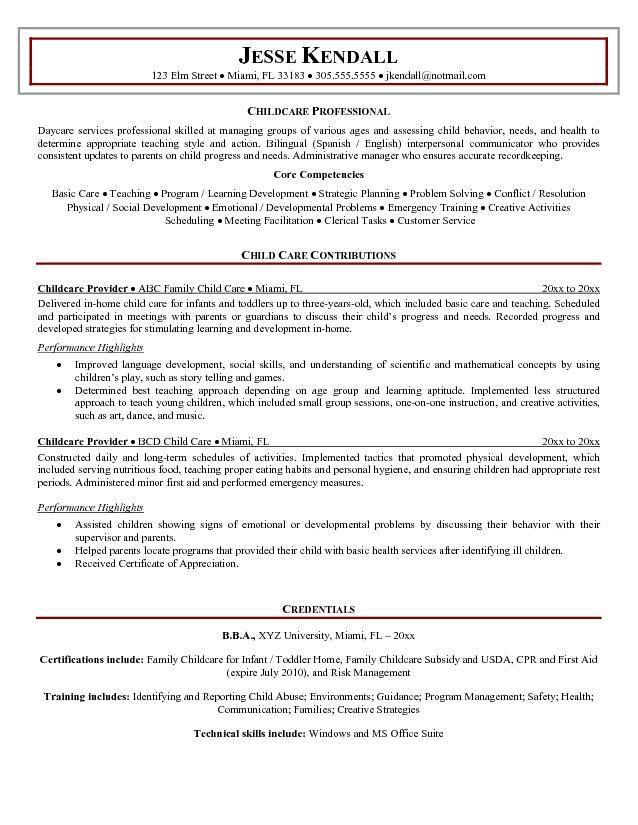 Childcare Provider Resume Sample Babysitter Resume Education Resume Sample Resume