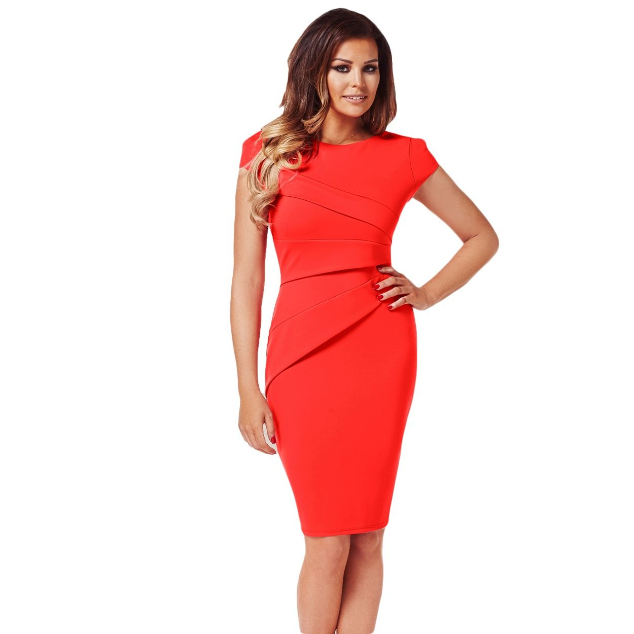 This cap sleeve panel dress by Jessica Wright is sophisticated and