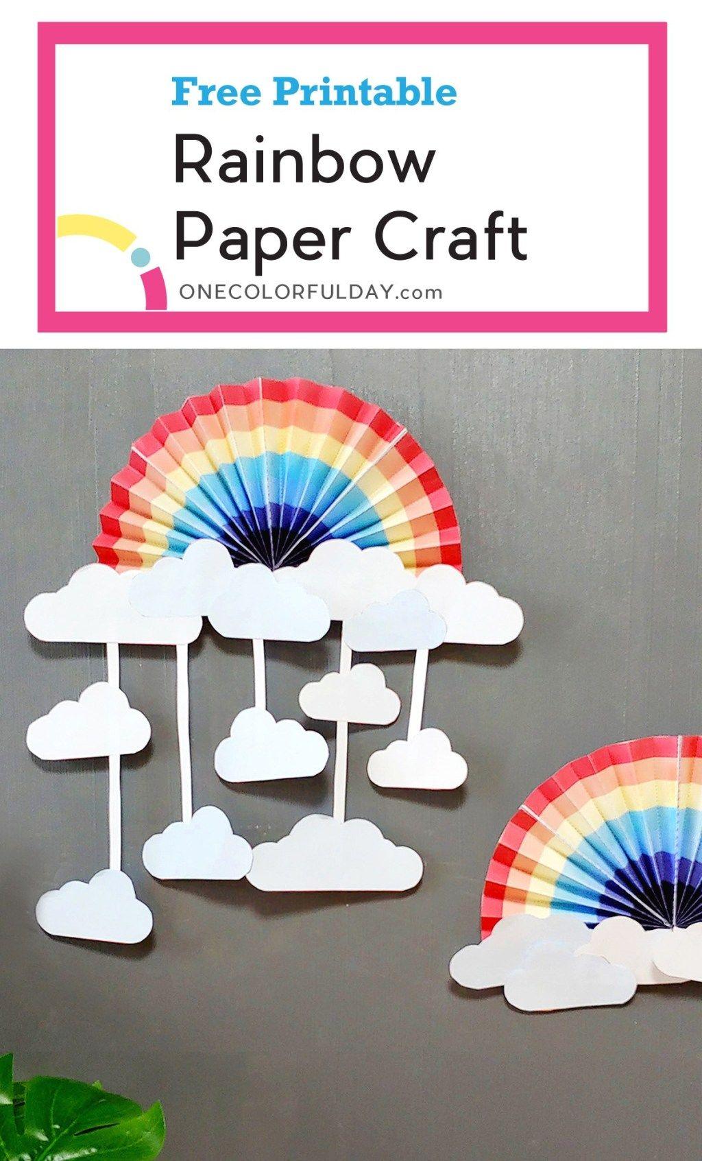 Printable Rainbow Craft - PRINTABLE CRAFTS - OneColorfulDay #rainbowcrafts