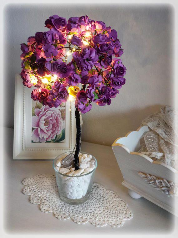 Drahtbaum in Lila mit Micro LEDs Hochzeitsgeschenk Deko   Draht Baum ...