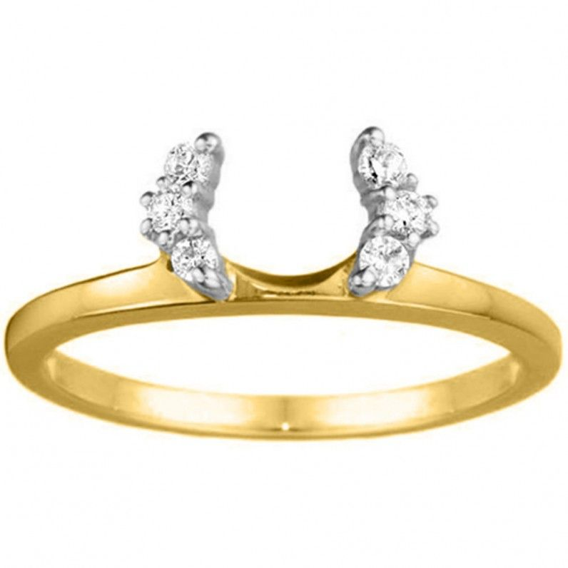 Diamond Halo Ring Wrap for Solitaire Engagement Rings in Solid Gold by TwoBirch