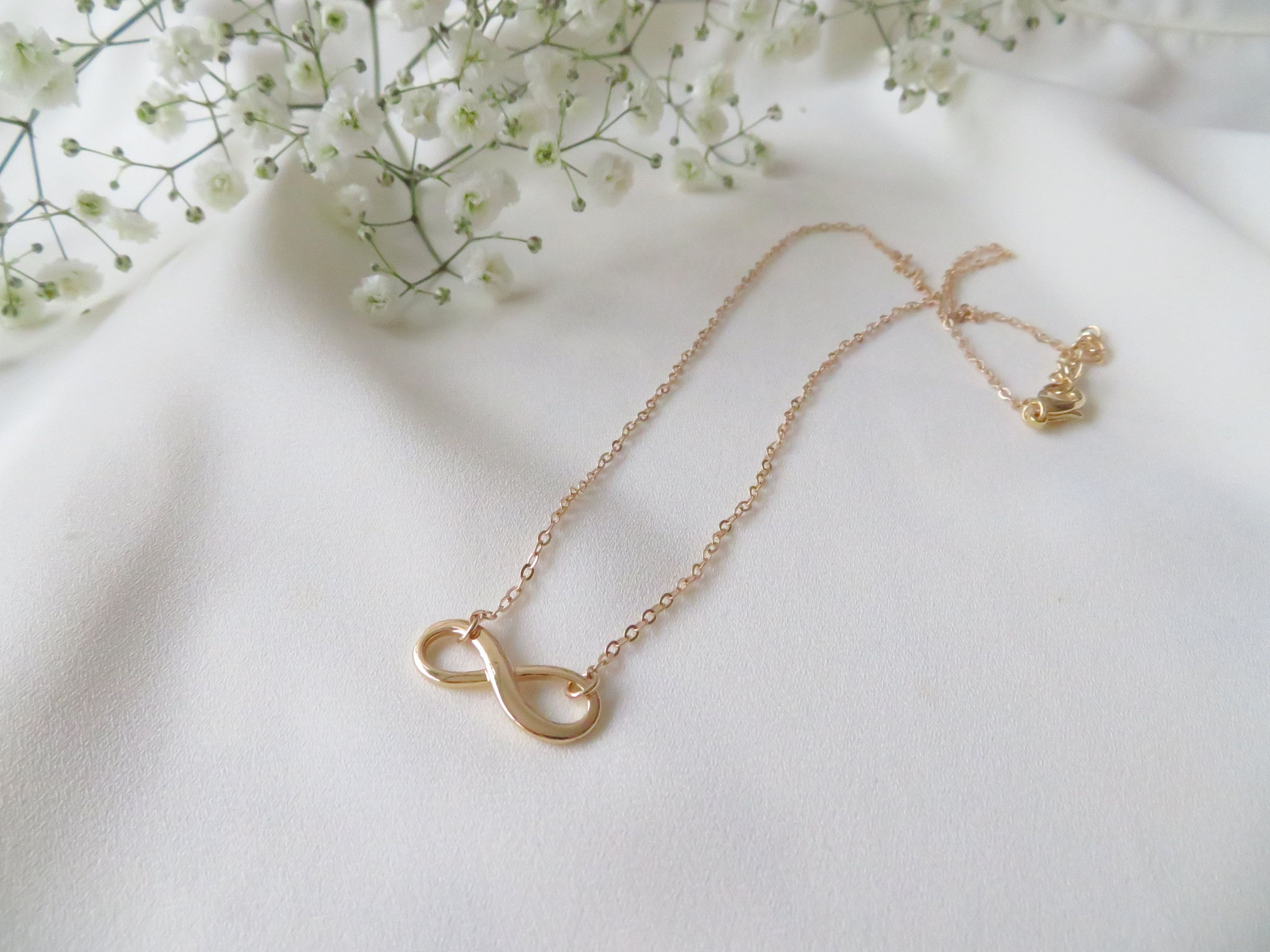 Photo of Infinity gold filled necklace, dainty friendship necklace, minimalist sister necklace, birthday gift for her, fine infinity jewelry