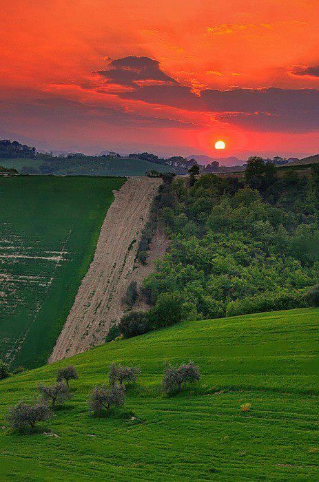 Sunset in Tuscany, Italy.