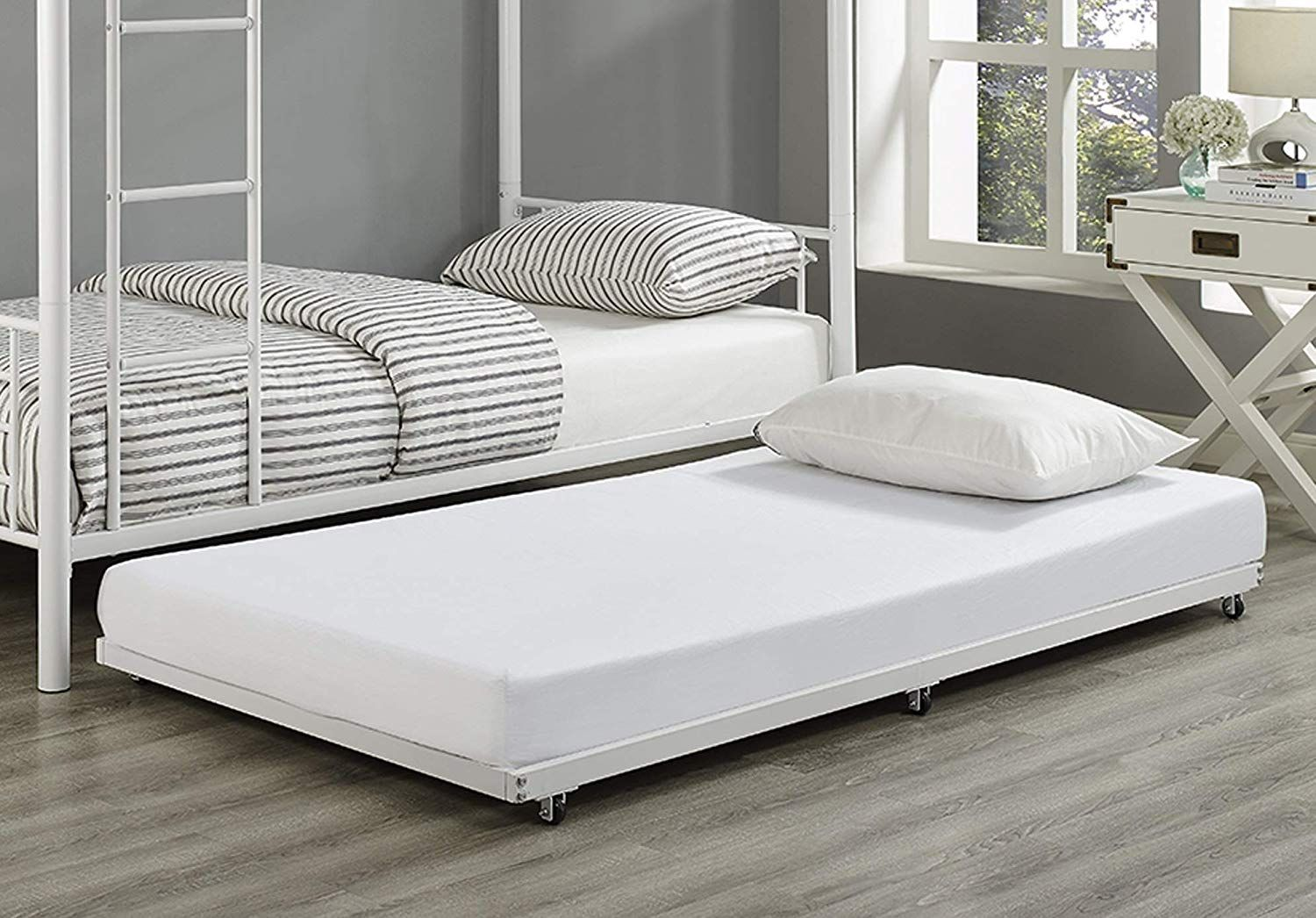 WE Furniture White Metal Roll Out Twin Trundle