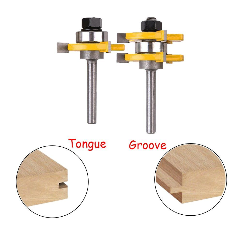 Zzanggu Tongue And Groove Router Bit Set2 Pcs 1 4inch Shank Router Bit 3 Teeth Tshape Wood Milling Cutter Woodworking Woodworking Tools Woodworking Router Bits