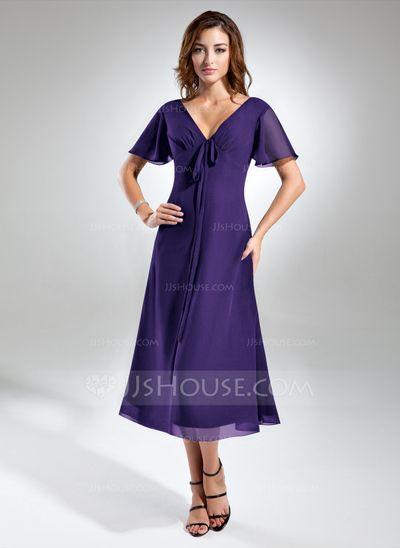 V-Neck Tea Length Dress Sleeves