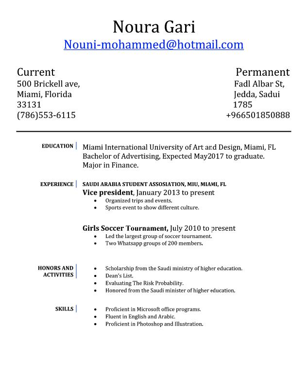 Vice President Resume Examples Noura Gari NouniMohammedHotmail