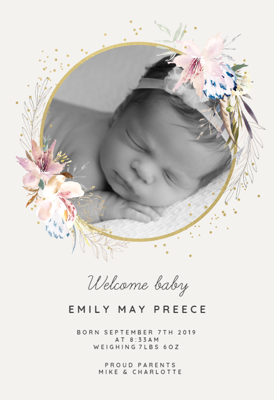 Birth announcement or christening customizable Birth or Baptism Announcements Customizable
