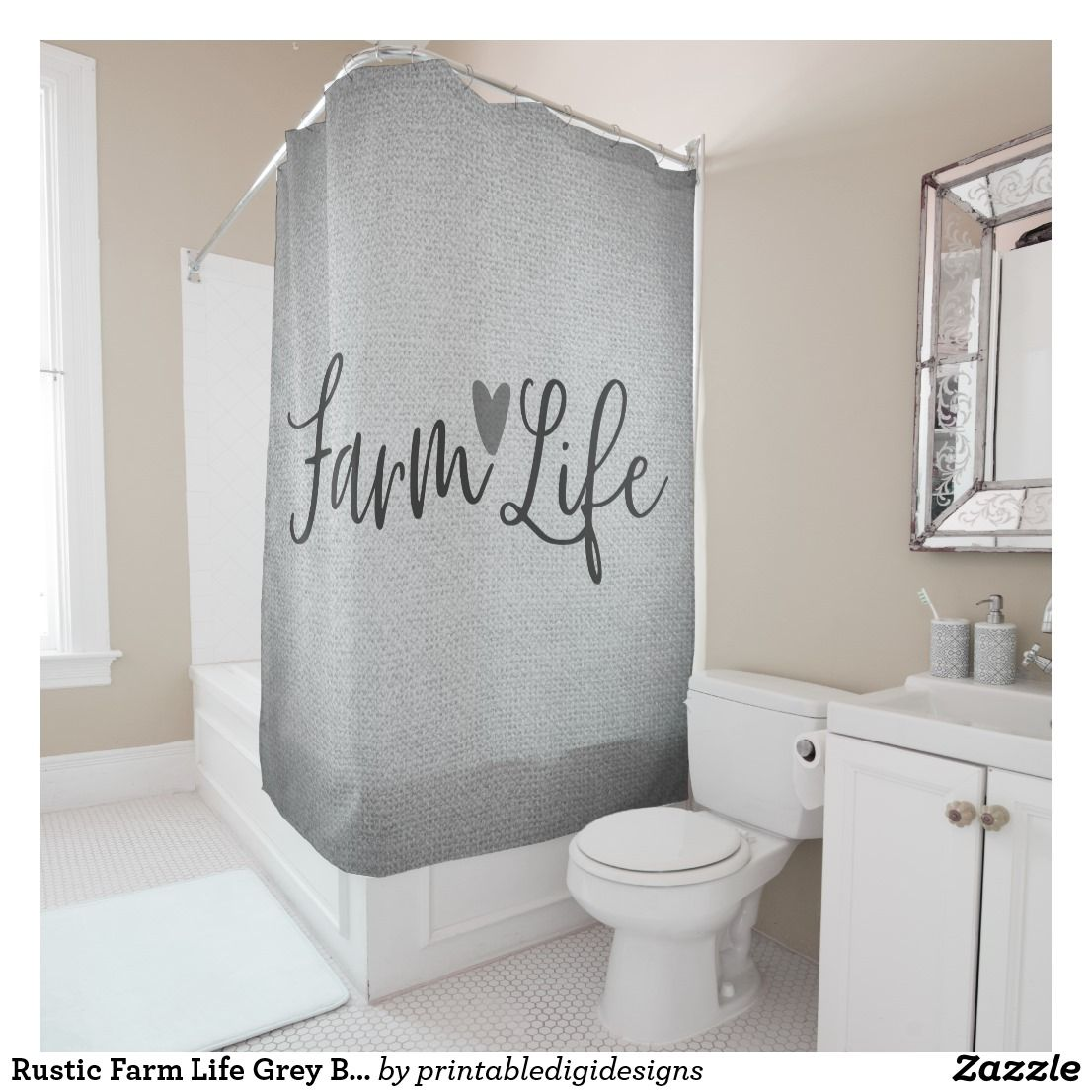 Rustic Farm Life Grey Burlap Texture Whimsical Shower Curtain
