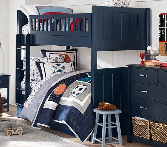 camp twin-over-twin bunk bed | nautical decor, kids room | twin bunk