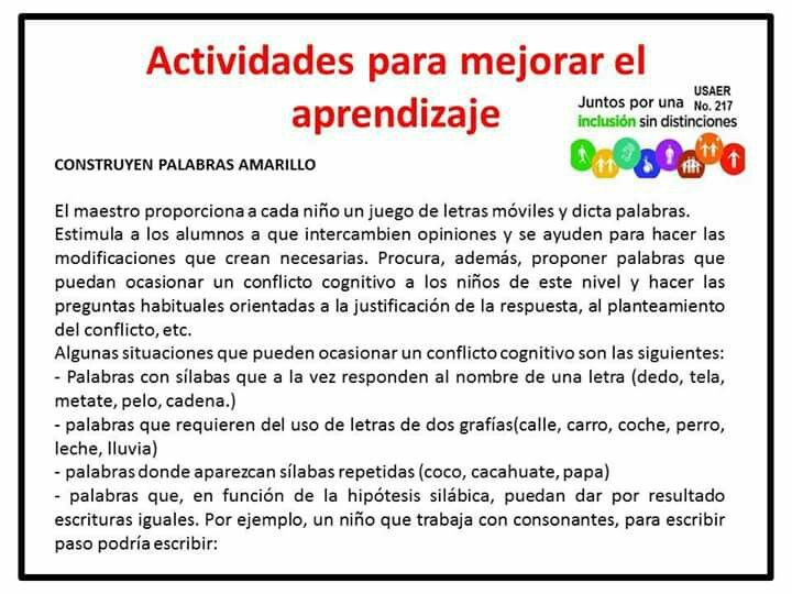 Acts para mejorar el aprendizaje sal n de clases for Actividades para el salon de clases