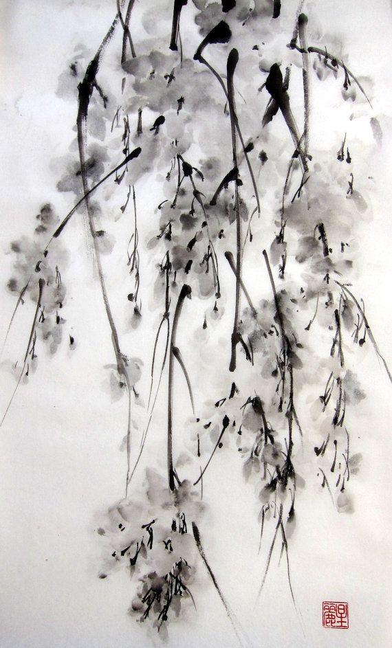 "Japanese Ink Painting on Rice Paper, 13x20 inch,Suibokuga,Sumi-e Black and White  - ""Sakura#5"""