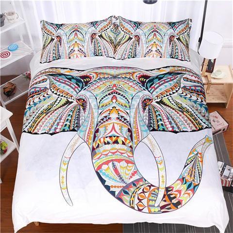 White Elephant Mandala Duvet Cover Set