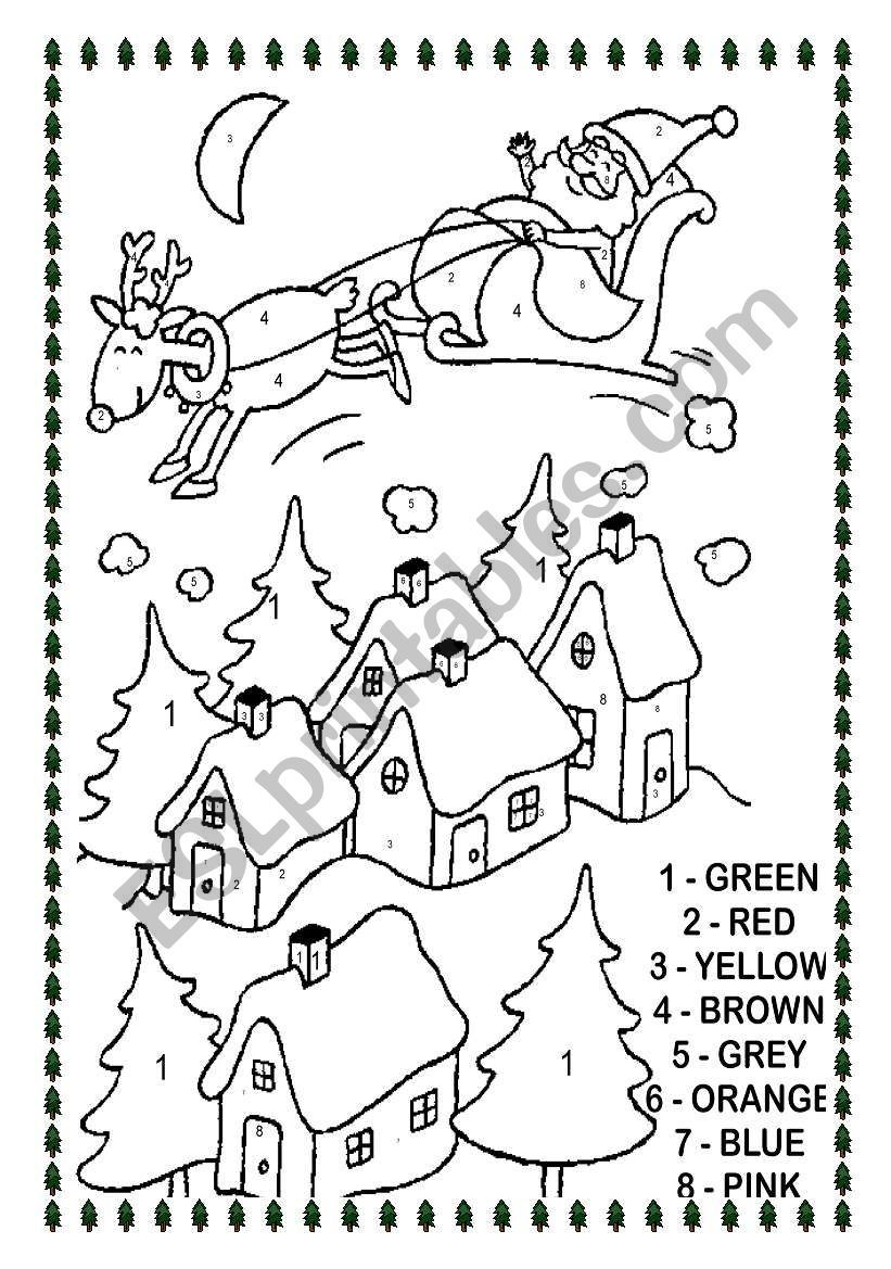 Christmas Esl Worksheet By Sandrazitta Holiday Worksheets Christmas Worksheets Christmas Color By Number