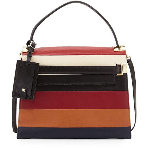 Valentino My Rockstud Striped Satchel Bag (5 202 AUD) ❤ liked on Polyvore featuring bags, handbags, rubin multi, accessories handbags, leather satchel, genuine leather handbags, leather purse and striped purse