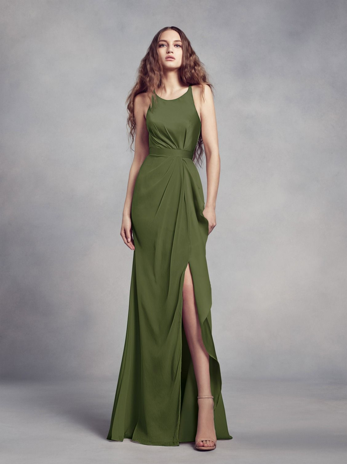c190702647 Olive green bridesmaid dress from the WHITE by Vera Wang bridesmaid dress  collection. The halter neckline and ruffle detail down the front are  incredibly ...