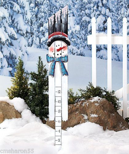 """Snowman Snow Measuring Guage 2""""-12"""" Wooden Painted Art Design In Stock NEW"""