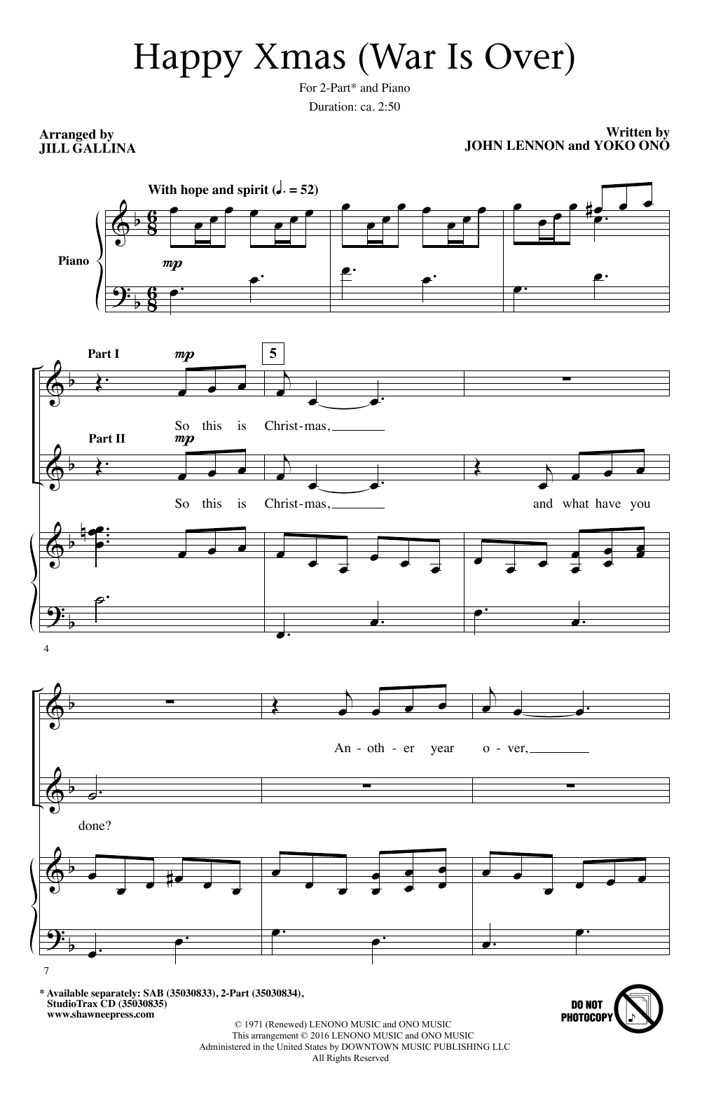 John Lennon Happy Xmas War Is Over Arr Jill Gallina Sheet Music Notes Chords Score Download Printable Pdf Music Happy Sheet Music Notes Happy Xmas