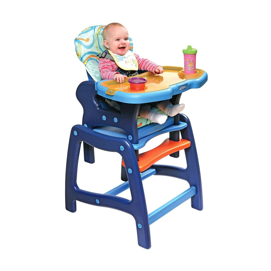 Badger basket pink high chair with play table conversion
