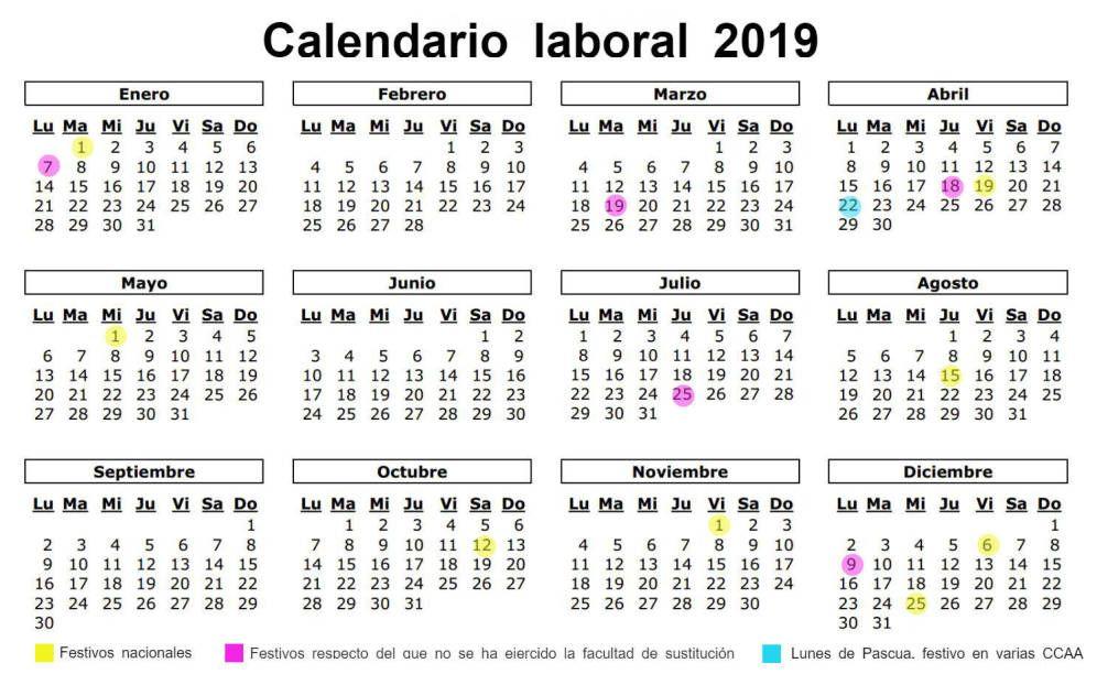 Calendario Laboral De 2019 Ocho Festivos Nacionales Y Solo Un