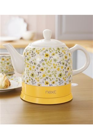 Next Yellow Ditsy Ceramic Kettle From The Next Uk Online Shop Yellow Kitchen Appliances Electric Kettle Kitchen Decor Inspiration