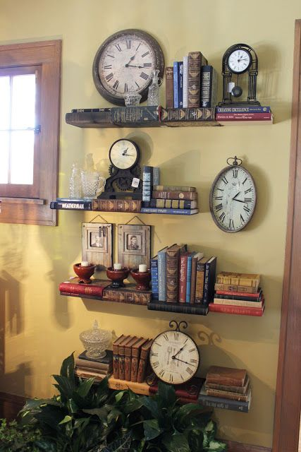 Itsy Bits and Pieces: Bachmans Fall Ideas House 2011- Part 2. Books for shelves, and a great display with clocks. Love it!