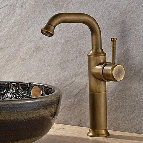 Vintage Antique Brass Finish Bathroom Basin Faucet Single Hole Mixer