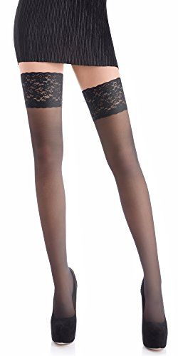 438b9d160e9 Sheer 20 DEN Elastane Hold Ups Stockings with Lace by Romartex 17 Colours  Sizes S-XXL (Large Black)