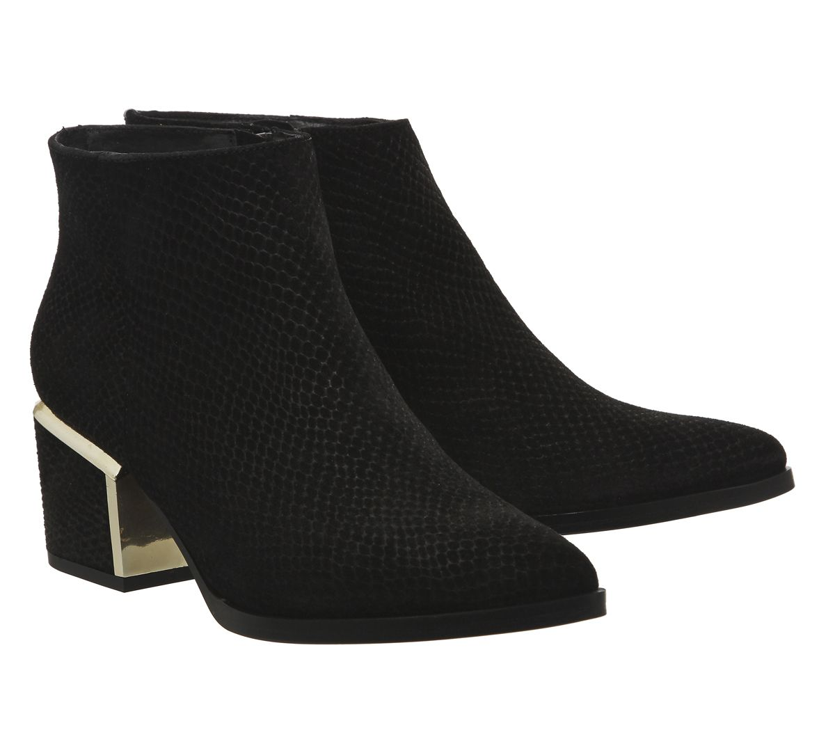 Buy Black Snake Embossed Suede Gold Heel Office Immortal Metal Heeled Boots from OFFICE.co.uk.