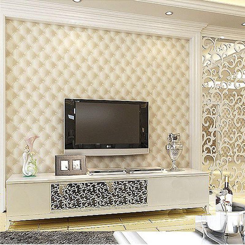 HANMERO Cheap Price Creamy White Leather Eco-friendly Wallpaper 3D Design  Fashion Home 3D Interior