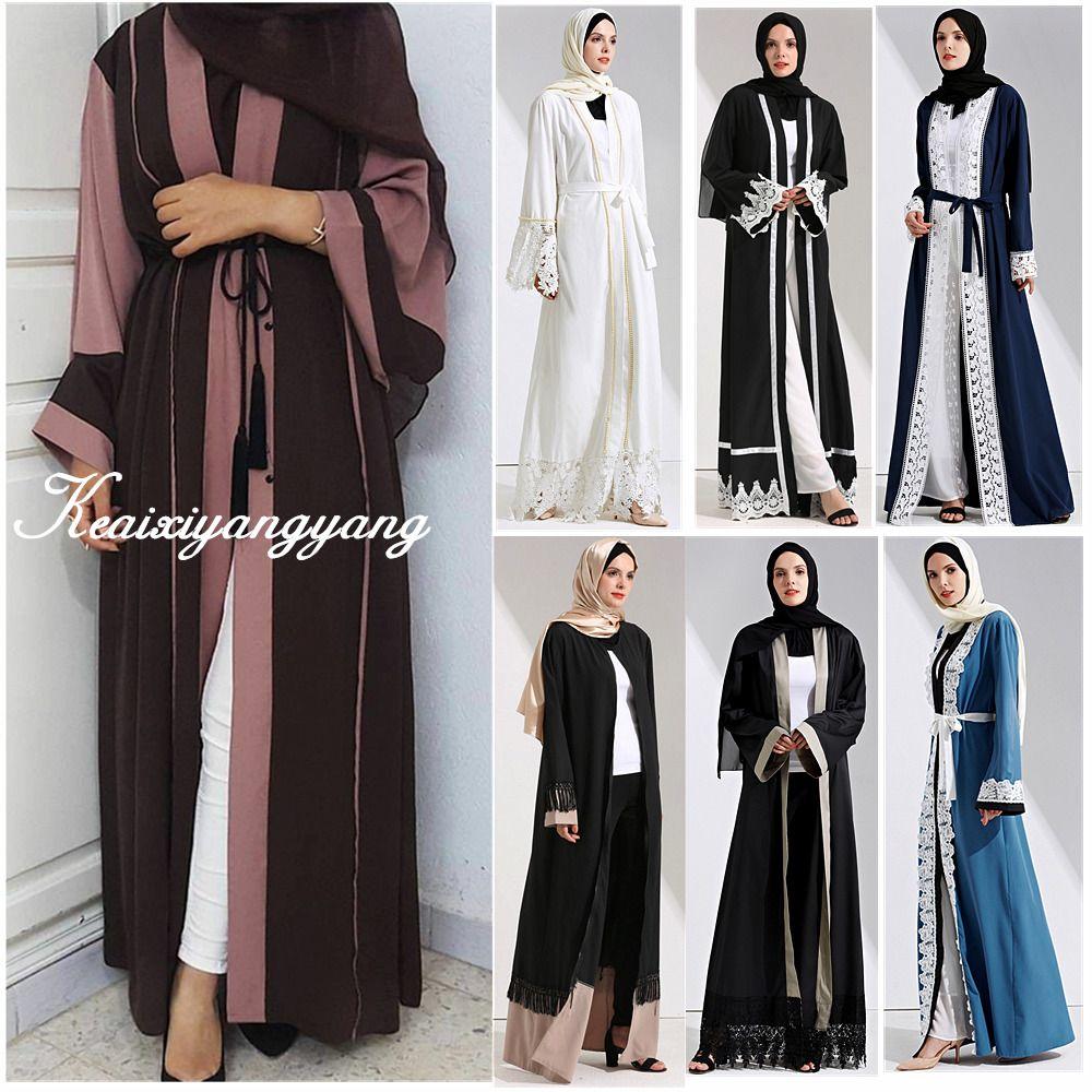 Dubai style women open front kaftan abaya muslim cardigan jilbab