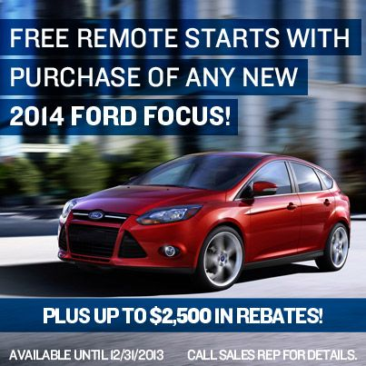 Receive Free Remote Start And Rebates When You Buy At 2014 Ford