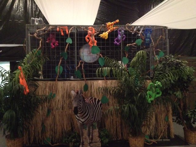 Sound Booth With Inflatable Monkeys And Animals Skirting Around Is Hula Skirt Africa Party 13th Birthday Parties 13th Birthday