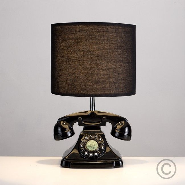 Charming Retro Style Telephone Table Lamp In Black Finish