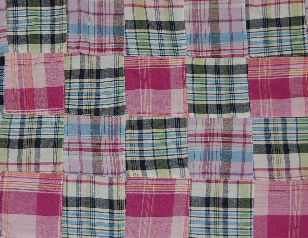 Three Chickadees Cotton Patchwork Madras Fabric by the Yard ~ Nova Scotia
