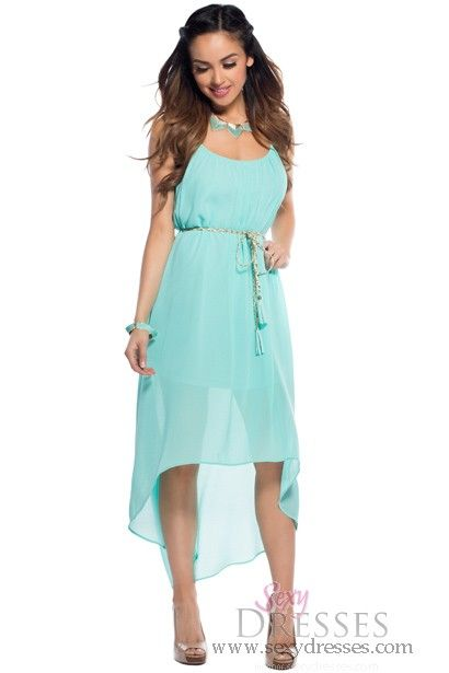 Beach Day Flowy Turquoise High Low Dress Maybe a bridesmaid dress ...