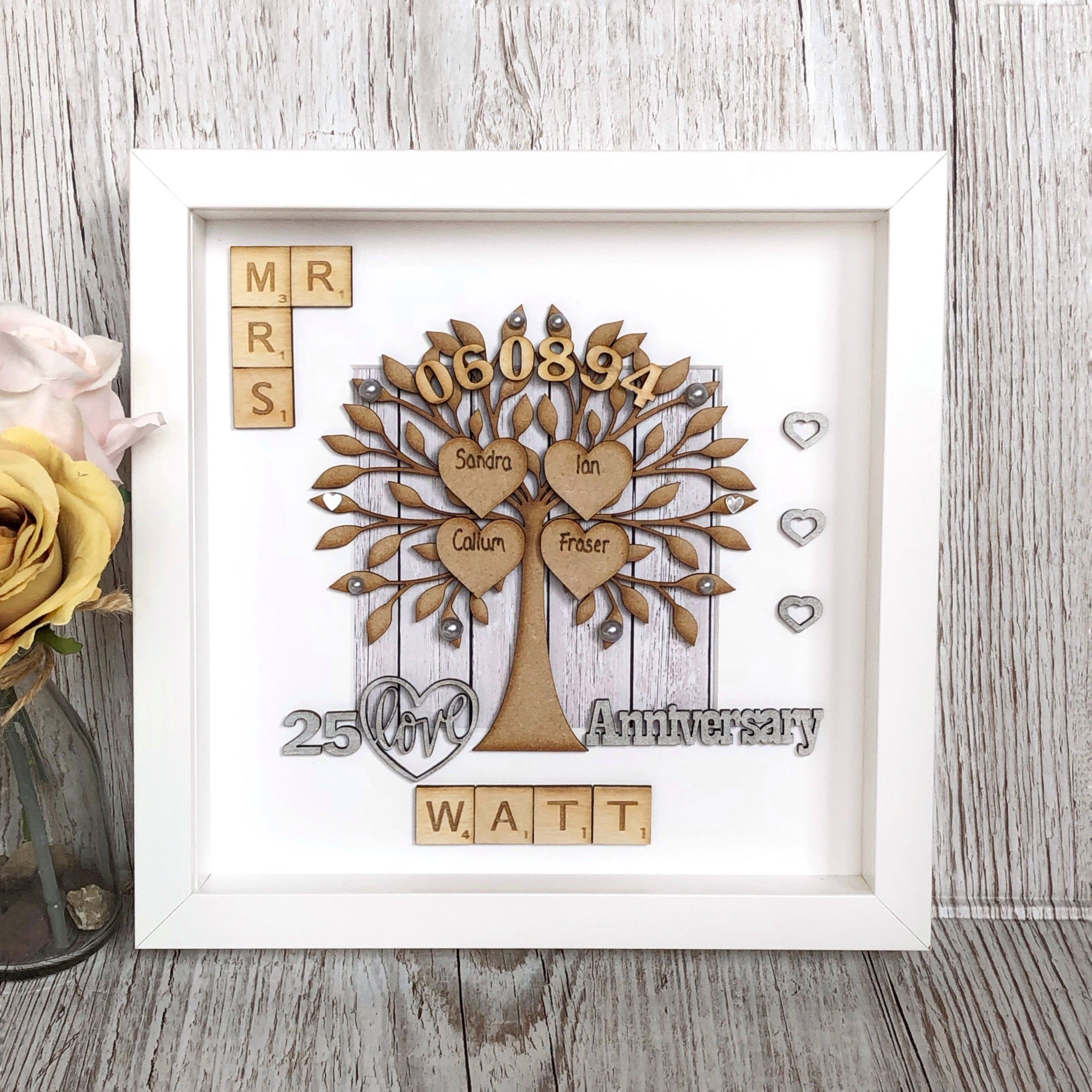 Silver Wedding Anniversary Gift, 25th Anniversary Gift
