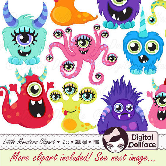 Little Monster Clipart, DIY Birthday Party Decorations, Cute Monster ...