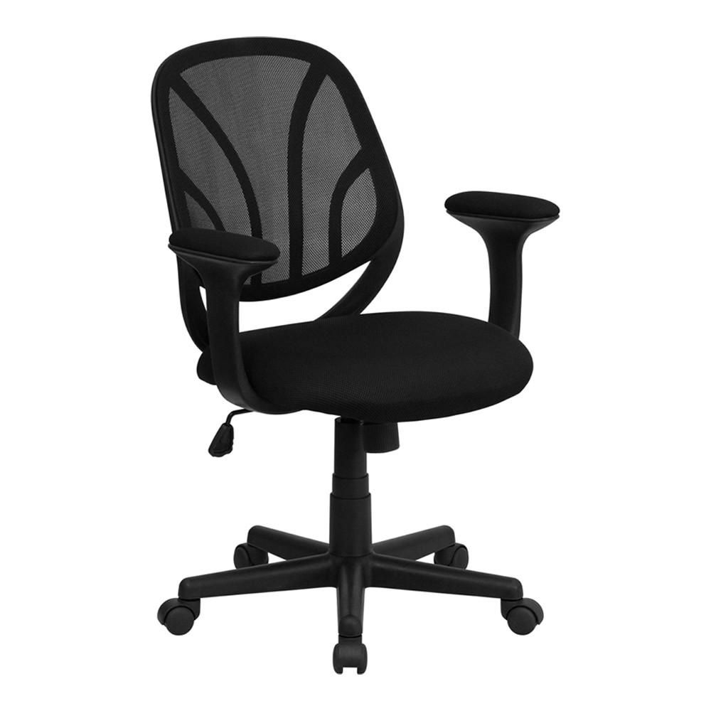 Y-GO Chair™ Mid-Back Black Mesh Computer Task Chair With