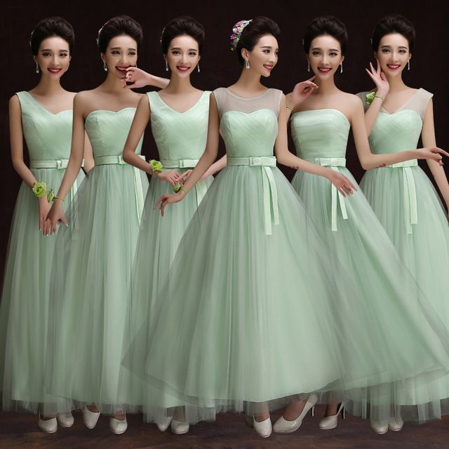 Long Mint Bridesmaid Dresses Tulle Sheer Shoulder Ankle Length Sweetheart Formal Dress Vestido De Madrinha De Casamento Longo