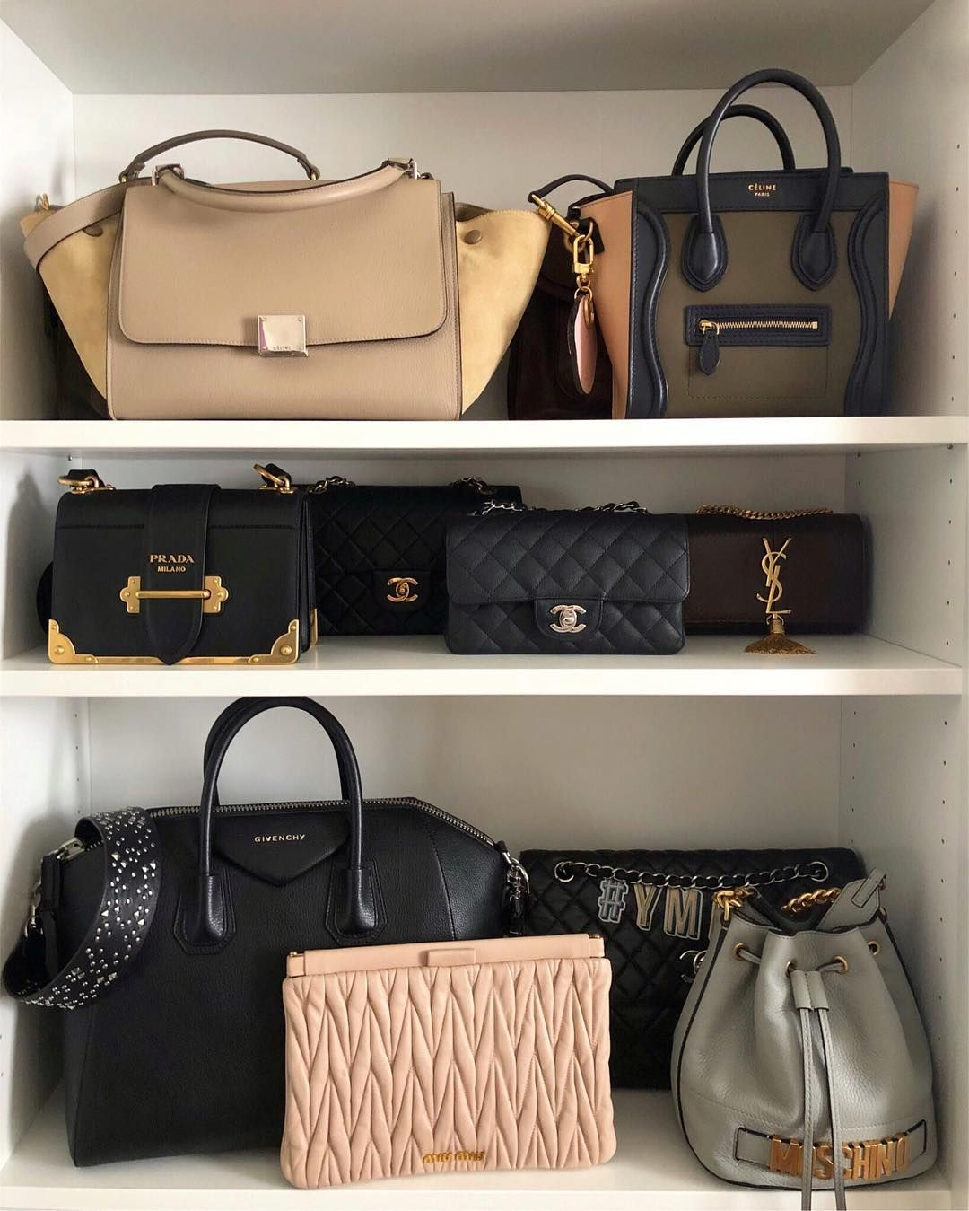 5ab92130a463 Designer handbag collection as stored on IKEA Billy Bookcase: Celine  trapeze, Celine nano,