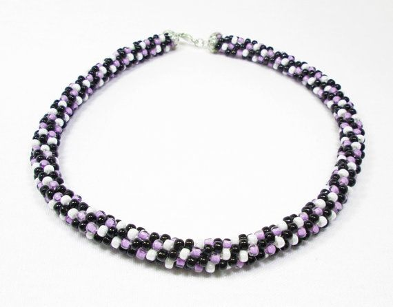 Lavender Black and White Kumihimo Necklace by kiddercreations, $52.00