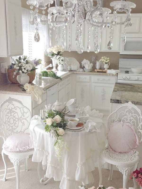 romantic shabby chic kitchen with gorgeous chandelier. Black Bedroom Furniture Sets. Home Design Ideas