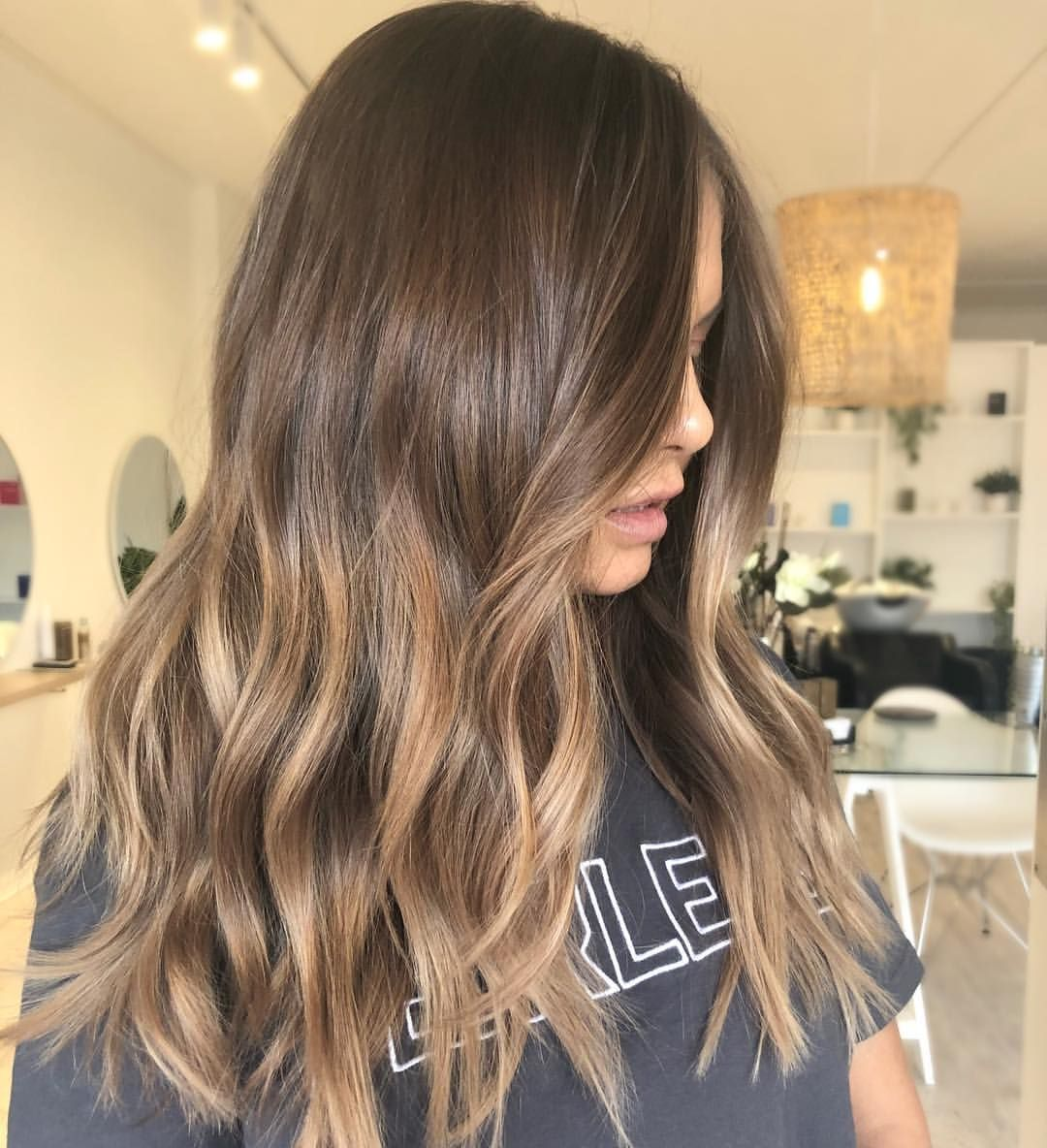 Adding Low Lights To A Faded Out Blonde To Create Dimension We Also Toned Down Karly Brown Hair With Blonde Highlights Brunette Hair Color Brown Hair Balayage